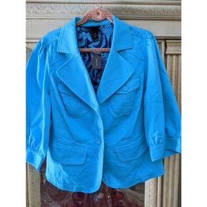 Lane Bryant Turquoise Blue Peplum Blazer Jacket 18